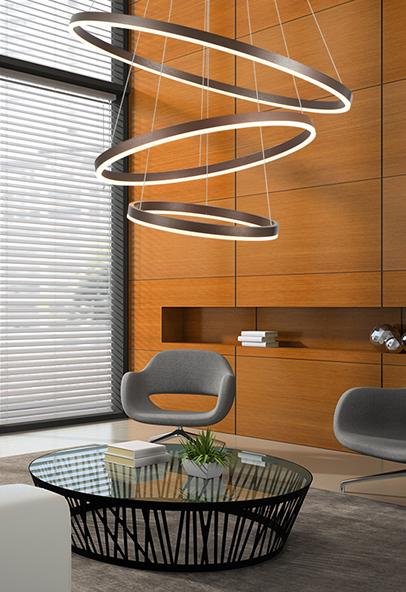 Die Hängelampe der Modena-Serie überzeugt mit festverbauter und modernster LED-Technik