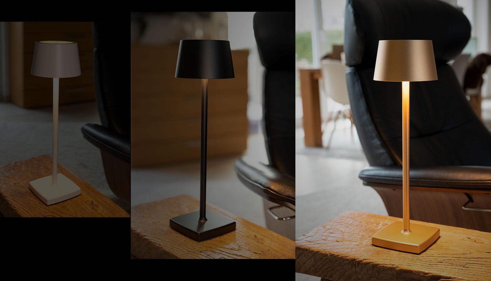 LED Akku-Tischleuchte in drei eleganten Farben